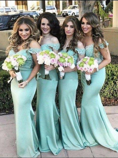 v neck off the shoulder mint green floor length bridesmaid dress