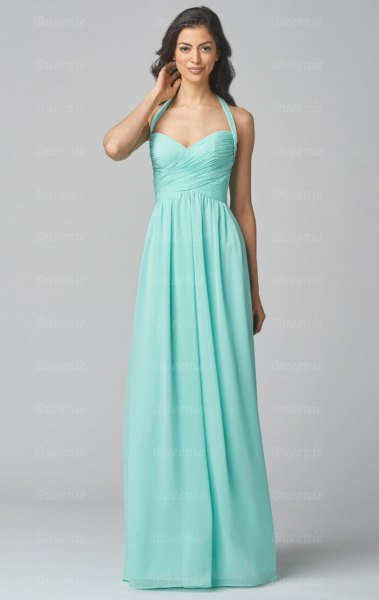 Halter neckline with a heart-shaped neckline and flared maxi dress