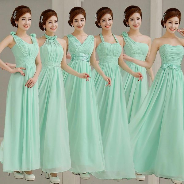 a strapless and flared bridesmaid dress with white heels