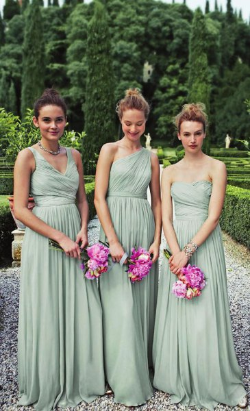 strapless, pleated, floor-length dress made of chiffon-mint green chiffon