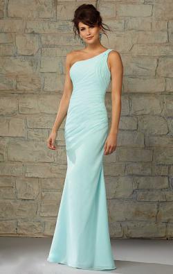 a shoulder-length floor-length mermaid bridesmaid dress
