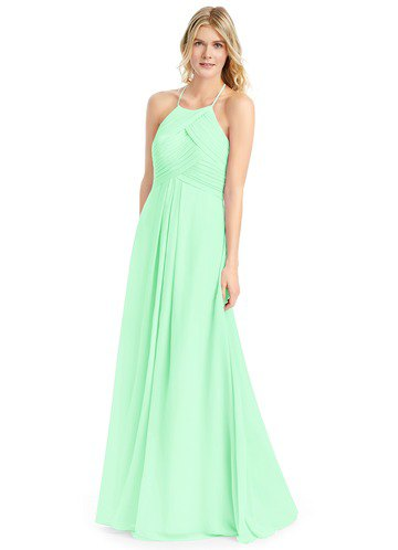 Mint halter maxi chiffon bridesmaid dress