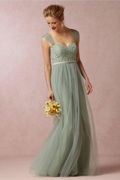 Mini chiffon bridesmaid dress with green belt and sweetheart neckline