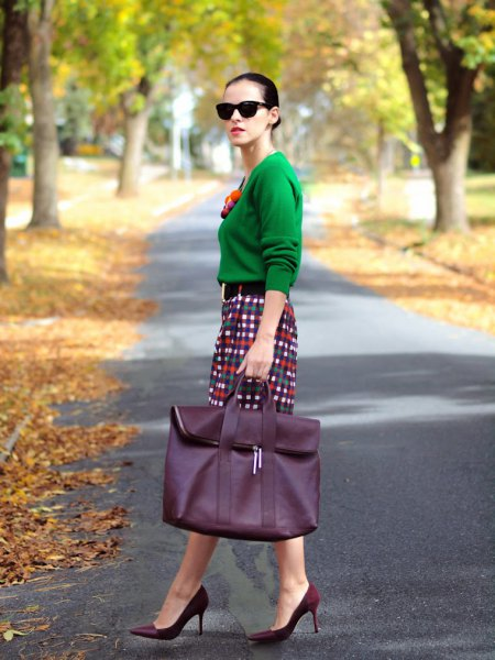emerald green sweater with checkered pencil skirt