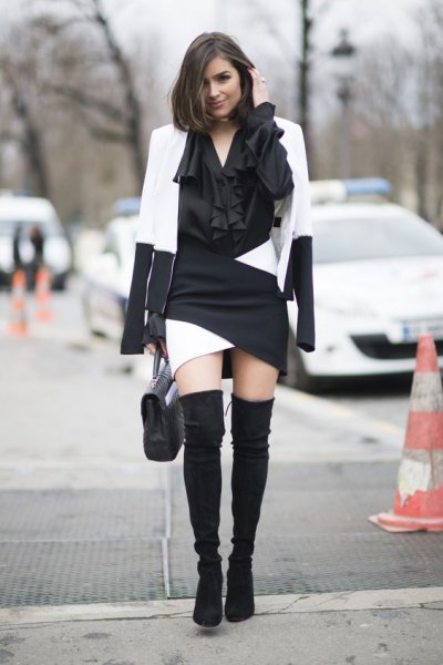 white and black color block blazer with matching mini dress