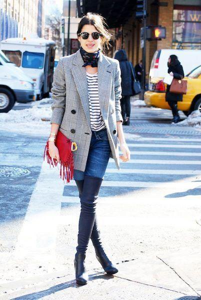 gray tweed blazer with black and white striped long-sleeved T-shirt