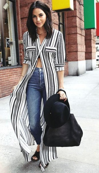 vertical striped maxi shift dress in black and white with skinny jeans