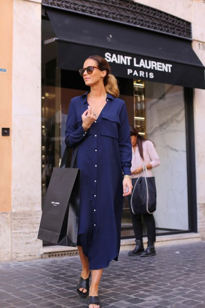 Dark blue maxi dress with buttons and open leather sandals