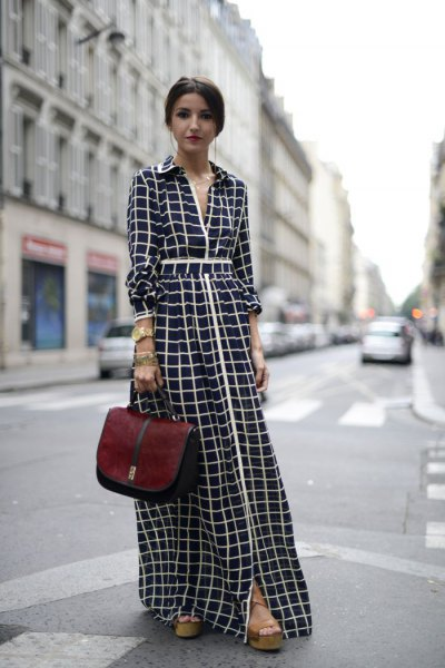 black and white checked maxi dress with gathered waist