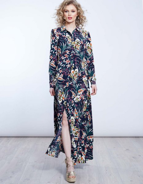 Dark blue maxi dress with side slit and floral pattern