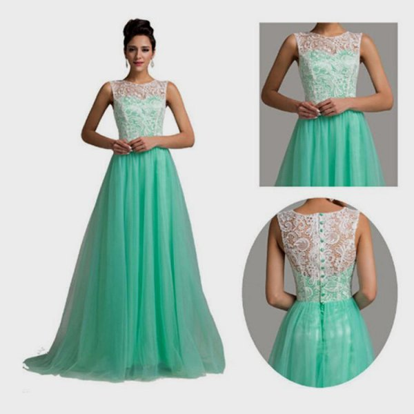 white and mint green two-tone flowing floor-length evening dress