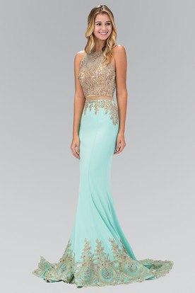 Gold and white sleeveless floor-length mermaid dress