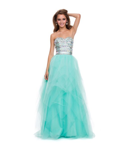 silver and mint green strapless maxi dress made of tulle