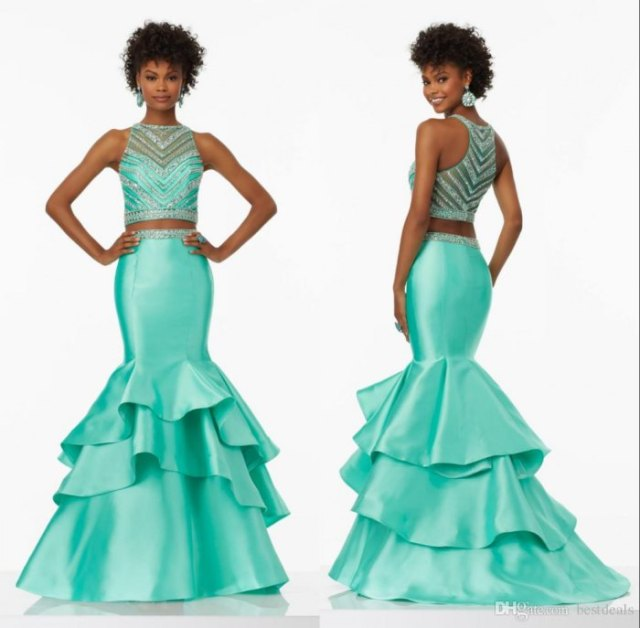 two-piece ball gown made of silver sequins and mint green silk