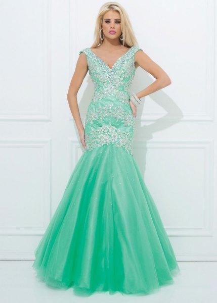 Mint green sequin and chiffon fishtail maxi dress