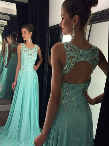 sleeveless, sleeveless, floor-length evening dress in silver and mint green