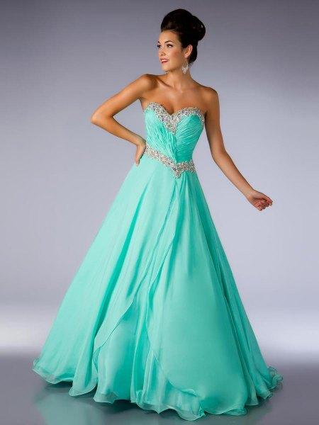 mint green fit and flare strapless maxi chiffon dress