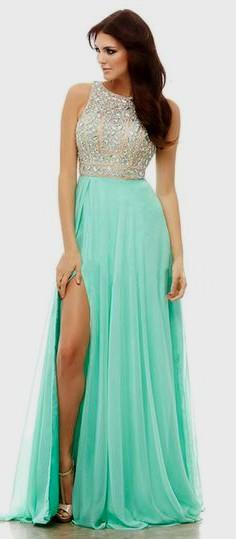 silver and mint green side slit pleated chiffon ball gown