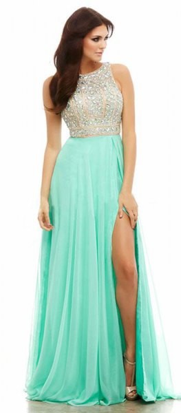 Sequins and chiffon two-tone high split ball gown