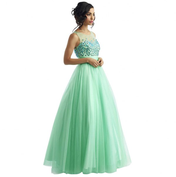 Semi sheer fit and flare mint green floor-length evening dress