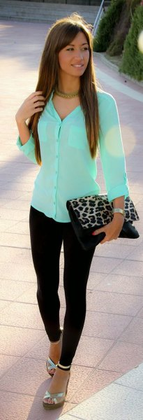 Mint green, slim-fit shirt with buttons and clutch with leopard print