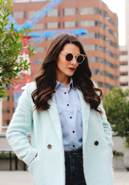 Mint green chambray shirt with white longline coat