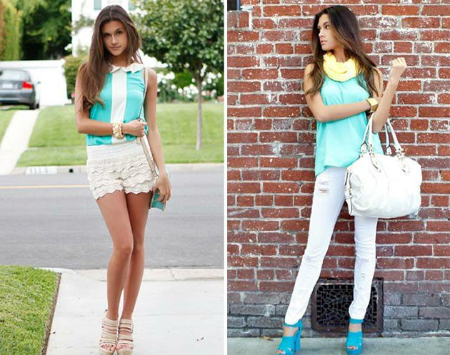 Mint green sleeveless slim fit blouse with white lace shorts