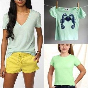 Mint v-neck t-shirt and yellow mini shorts