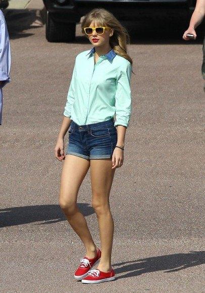 Mint green shirt with blue denim shorts