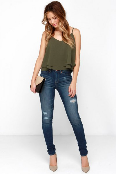 green spaghetti strap chiffon top with v-neck and high jeans