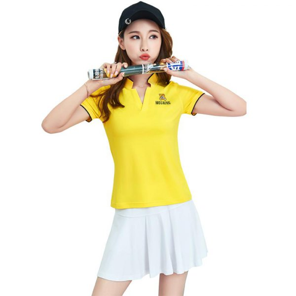 bright yellow slim fit polo shirt with white tennis skirt