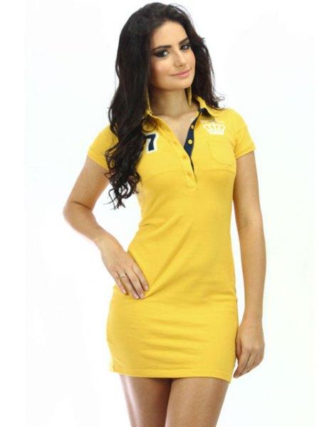 Slim fit graphic polo shirt dress with black neckline
