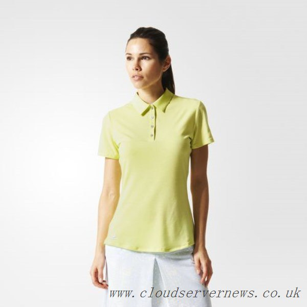 Light yellow polo shirt with a white, straight skirt