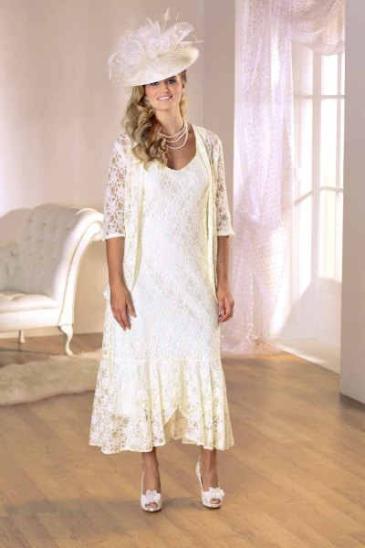 white lace jacket with flowing dress with maxi lace hem
