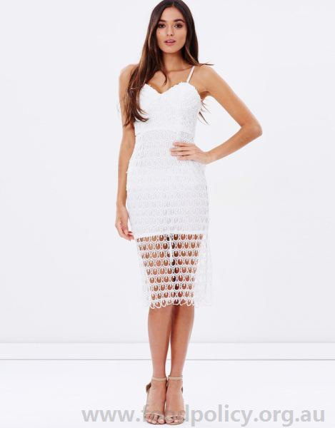 Ivory Sweetheart Neckline Midi Semi Sheer Lace Dress