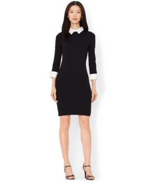 Bodycon knee length black dress with white collar and open toe heels