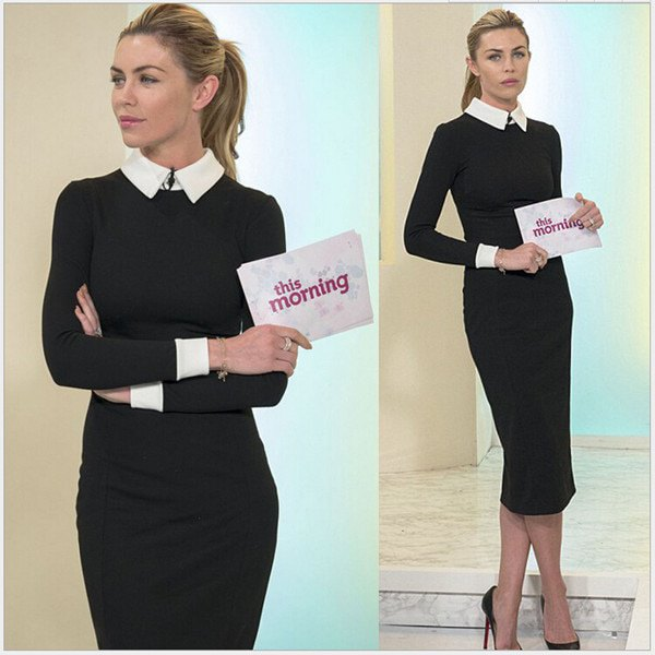Midi black dress with white collar and pointed toe heels