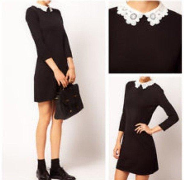 black mini dress with white lace collar