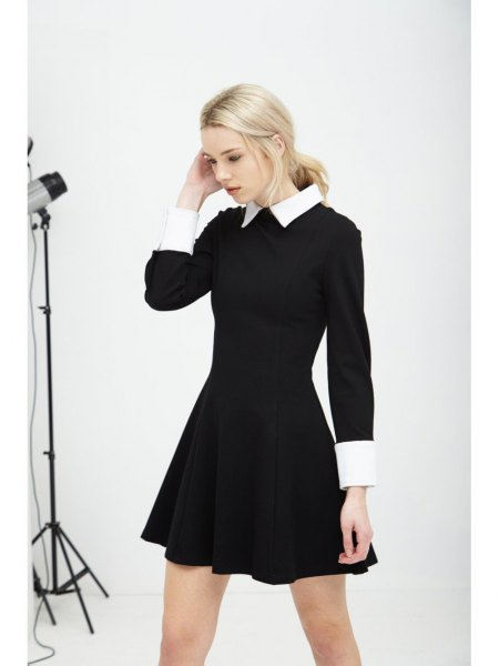 black and white mini skater dress with heels