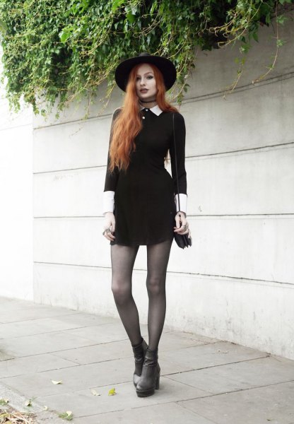 Felt hat with mini skater dress and gray boots