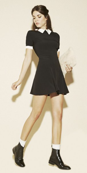 black fit and flared mini dress with white collar