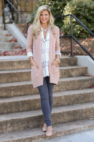 blush pink long cardigan with gray and white checkered boyfriend shirt
