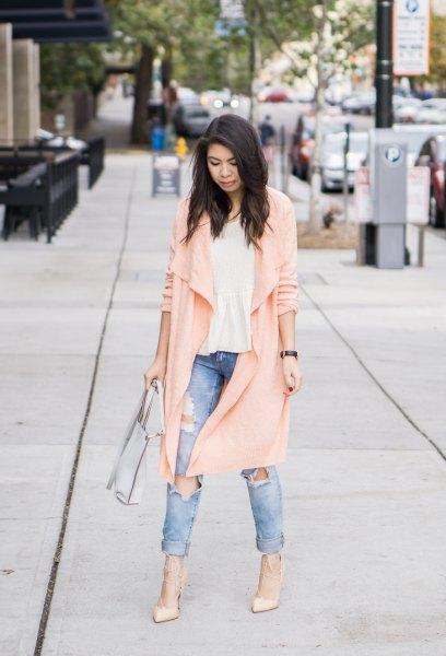 Light pink longline cardigan with torn boyfriend jeans