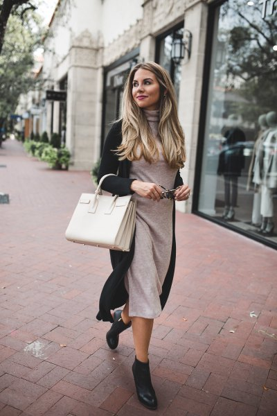 gray midi sweater dress with black longline cardigan