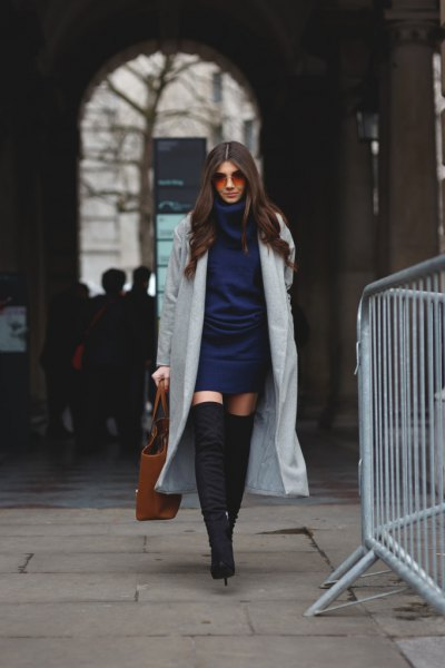 Dark blue knitted dress with gray maxi blazer and over the knee boots