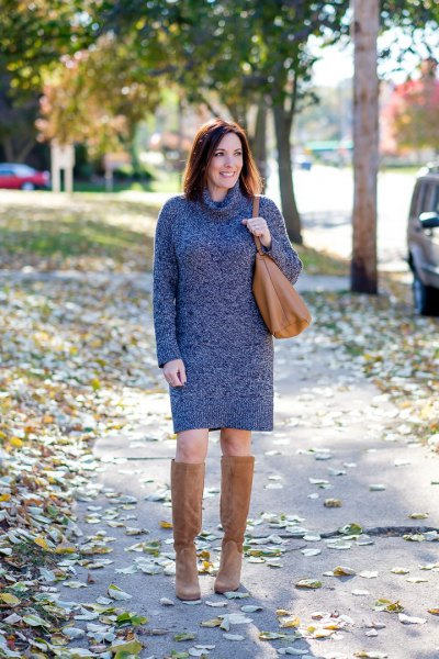 Heather gray turtleneck sweater dress with knee-high camel suede boots