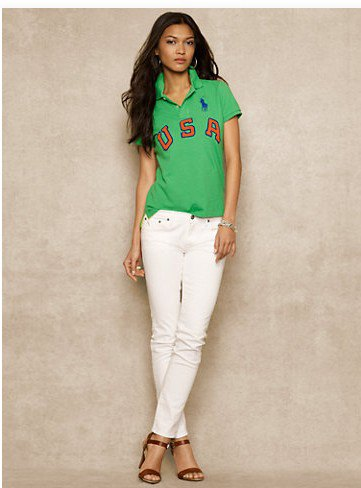 graphic polo shirt with white slim fit jeans