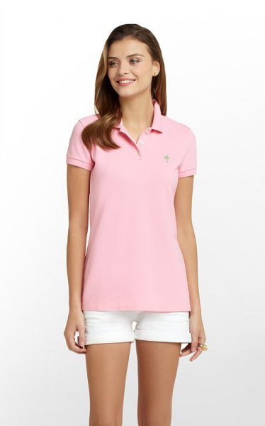 pink slim fit polo shirt with white mini shorts