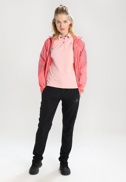 Light pink polo shirt with blushing windbreaker and jogging pants