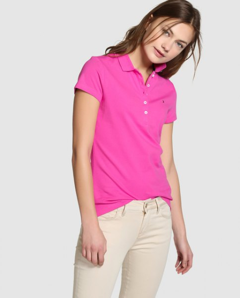 shocking pink polo shirt with ivory skinny jeans
